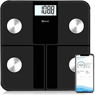Báscula Grasa Corporal, Báscula Baño Digital Bluetooth Inteligente, Báscula Analógica Monitores de composición corporal Para Móviles Andriod y iOS (Negro)