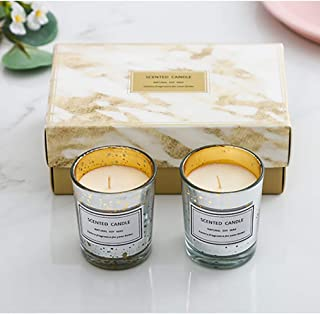 MYHXQ Christmas Scented Candles Gift Set,Starry Cup Aromatherapy Candles for Stress Relief,Natural Soy Wax Candles Hand Pouring Smokeless and Non-Toxic-2 Pack (Wishing Wizard + Green Field Dream)