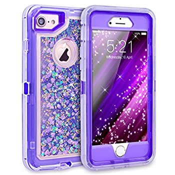 Dexnor iPhone 8 Case iPhone 7 Case iPhone 6 Case Glitter 3D Bling Sparkle Flowing Liquid Case for Girls 3 in 1 TPU Silicone + PC Protective Shockproof Defender Cover for iPhone 8/7/6s/6 - Purple