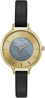 Kenneth Cole Women's Silver & Gold Dial Leather Band Watch - KC15187003