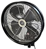 """HydroMist F10-14-011 18"""" Shrouded Outdoor Wall Mount Oscillating Fan, 3 Speed On Cord, 0.15 HP, 1.05 Amps, Black"""