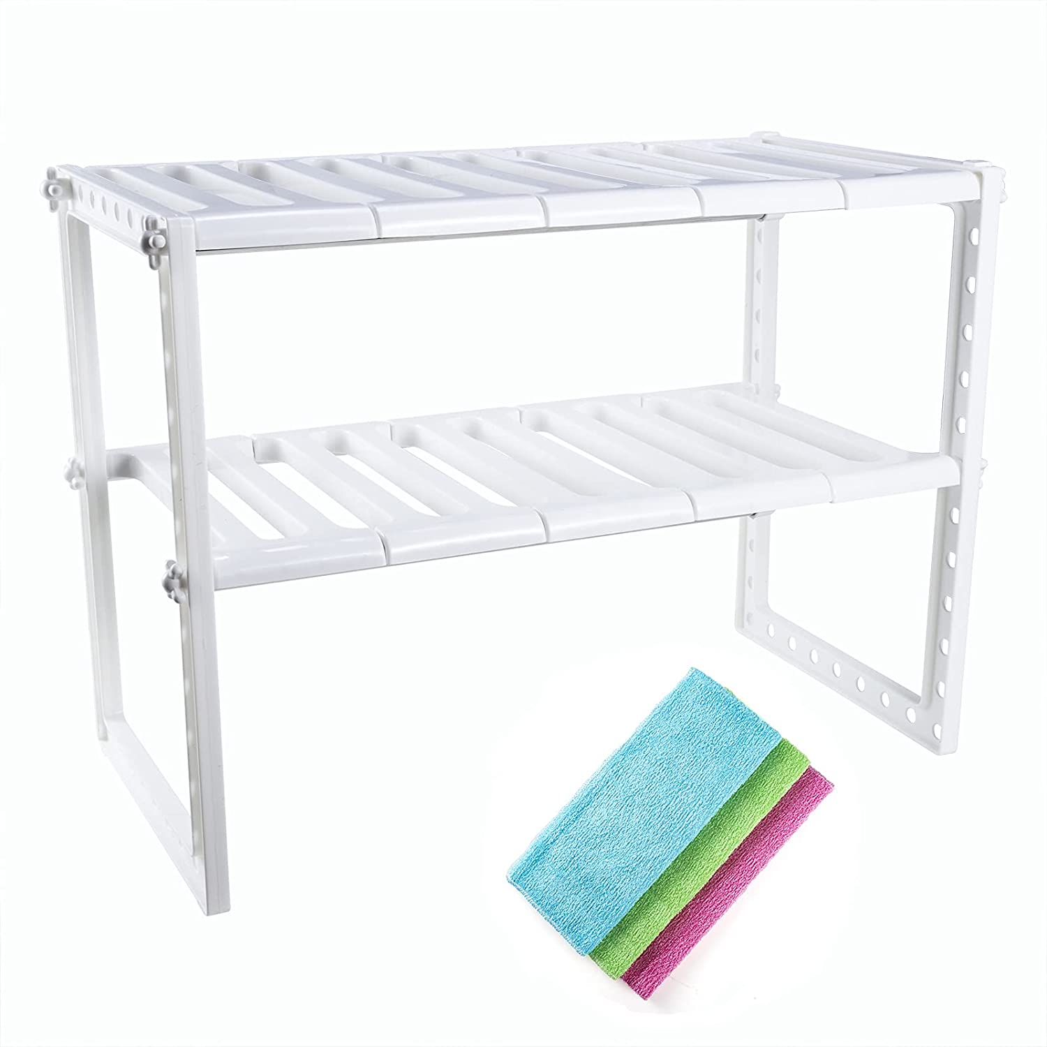 Expandable Under Sink Shipping included Organizer Adjustable Storage Sale item 2-T Shelf and