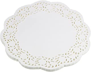 LJY 100 Pieces White Lace Round Paper Doilies Cake Packaging Pads Wedding Tableware Decoration (12 Inch)