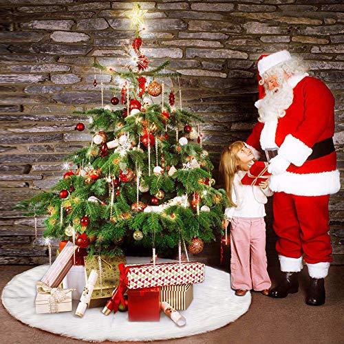 N / A Weihnachtsbaum Rock Weihnachtsbaumdecke Rund Weiß Plüsch Weihnachtsbaum Decke für Weihnachtsbaum Verzierung Bodendekoration Weihnachtsdeko Weihnachtsbaum Deko (152cm)
