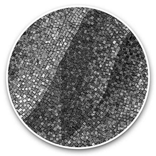 Impresionantes pegatinas de vinilo (juego de 2) 20 cm (bw) – azulejos de cerámica antiguos azulejos divertidos adhesivos para portátiles, tabletas, equipaje, libros de recortes, neveras, regalo genial #39323