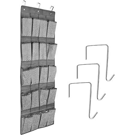 Organizador de zapatos de tama/ño mediano para 24 zapatos Basics para colgar sobre puertas