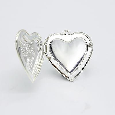 fced32558086 Beautiful Bead 5 Pcs White Gold Flower Pattern Heart Shape Picture Frame  29 29mm