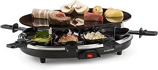 Klarstein Blackjack raclette con grill (900 W de potencia, raclette con 8 sartenes triangulares antiadherentes, parrilla redonda de cerámica, acero inoxidable)