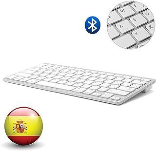 Dingrich Teclado Inalámbrico Español Bluetooth 3.0 conexión, Uso Universal, Ultra Delgado, Teclado portátil y Ligero, para tabletas y iPad, Compatible con para Sistemas iOS, Android y Windows