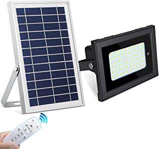 SEMILITS Solar Flood Lights Outdoor - Waterproof 60 LED Solar Powered Spotlights with Remote Control Dusk to Dawn Security Light for Landscape Patio Walkway Garage Cold White