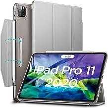 ESR iPad Pro 11 ケース 2020 オートスリープ/ウェイク [第二世代 Pencil ワイヤレス充電対応] 軽量 留め具付き イッピー三つ折りスマートケース iPad Pro 11インチ 2020用ハード背面カバー(グレー)