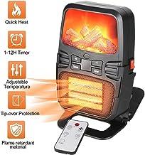 TFACR Calentador de Ventilador eléctrico con Control Remoto, Calefactor portátiles de 1000W con protección contra sobrecalentamiento, Estufa electrica de Llama para Dormitorio/Oficina/casa