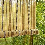 """JLXJ Bambusrollo Rollos Beige Sonnenschutz Bambus Rollo, Streifen Im Japanischen Stil Vintage Vorhang Für Außenterrasse Pergola, 75cm/95cm/115cm/135cm/115cm Breit (Size : 135×220cm(53.1""""×86.6""""))"""