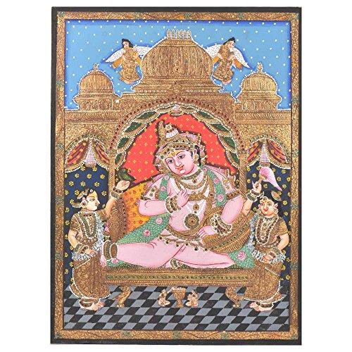 Étagère Indien Fait à la Main Krishna avec Gopikas Peinture de Peinture en Cadre Pt-143