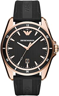 Emporio Armani Men's Sport Stainless Steel Quartz Watch with Rubber Strap, Black, 21 (Model: AR11101)