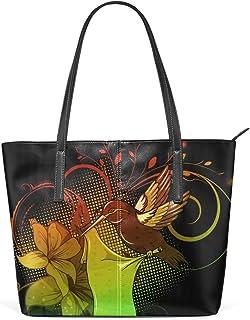 FANTAZIO Handtasche, Schultertasche, bunte Blumen und Kolibri