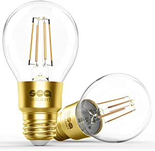 SEALIGHT Smart Wi-Fi LED Bulb, Smart Light Bulb Glass Vintage Edison Light, A19, Dimmable, Soft White 2700K, No Hub Required, Compatible with Alexa and Google Assistant, Pack of 2