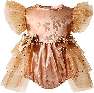 طفل الفتيات طباعة الأزهار الكشكشة رومبير مولود جديد بلا أكمام يا الرقبة مش بذلة مع عقدة القوس (Color : Brown, Kid Size : 9M)