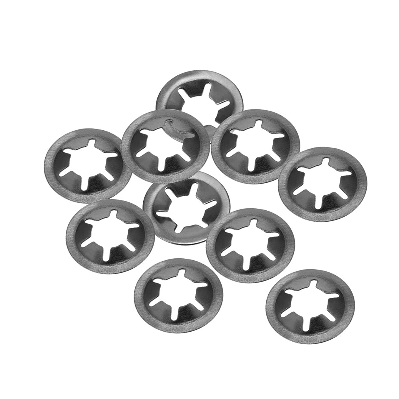uxcell M8 Starlock Washer 7mm I.D. 18mm O.D. Internal Tooth Lock Washers Push On Locking Speed Clip, 65Mn Black Oxide Finish (Pack of 10)