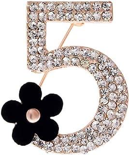 LFDXZ Broschen Nummer 5 Voller Kristall Strass Brosche Pins Für Frauen Party Einfache Blume Anzahl Broschen Schmuck