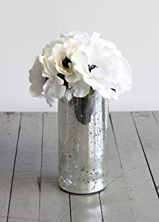 Afloral Silver Mercury Glass Cylinder Bouquet Vase