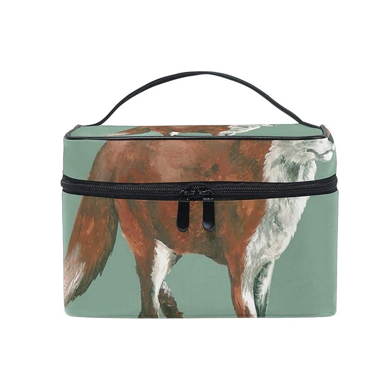 常識イデオロギーワームメイクボックス かわいい赤い狐柄 化粧ポーチ 化粧品 化粧道具 小物入れ メイクブラシバッグ 大容量 旅行用 収納ケース
