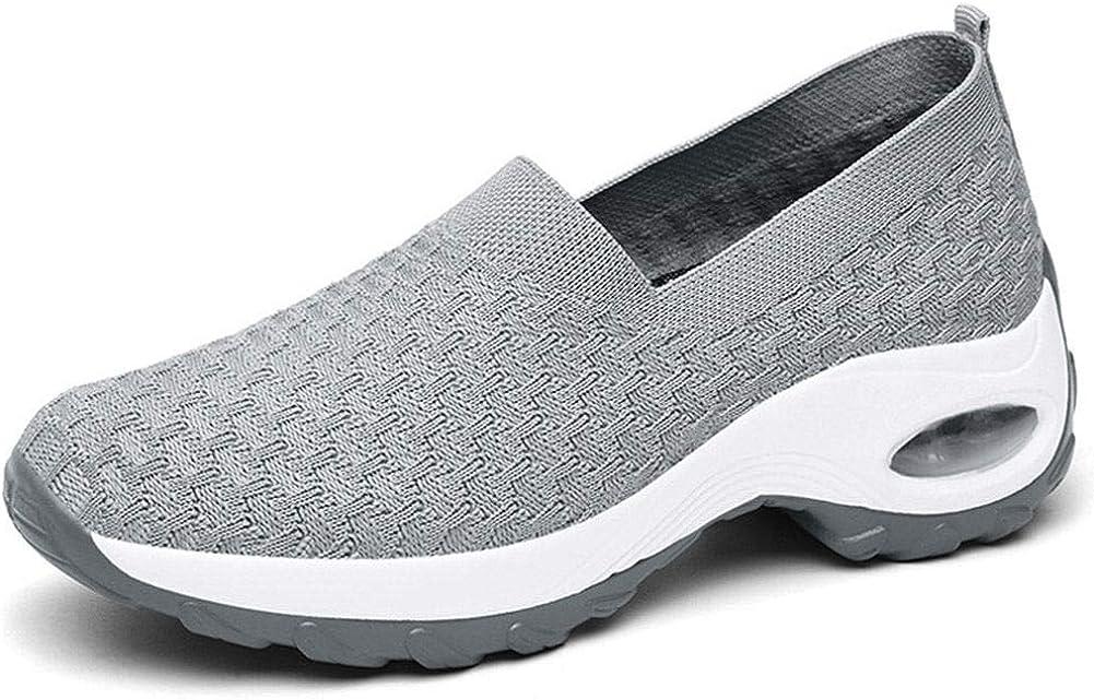 VIMISAOI Women's Platform Sneakers, Summer Comfort Breathable Mesh Slip On Wedges Walking Shoes Loafers