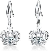 UMODE 18K Rose Gold Tone Cubic Zirconia Jewelry Crown Drop Earrings