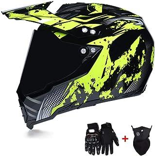 LEENY Motocross-Helm, Herren Crosshelm Full-face Schutz mit Sonnenblende Visier Maske Handschuhe, Motorradhelm Motorrad Off-Road ATV MTB Quad Motorräder Racing DH Enduro Integralhelm, Schwarz Gelb
