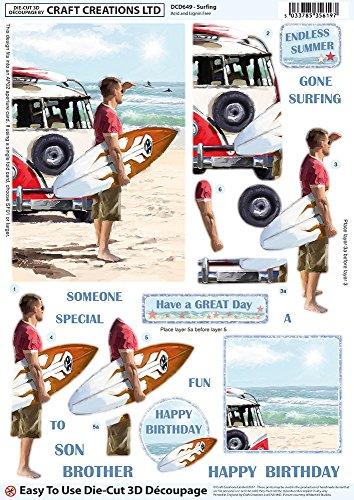 Craft Creations Die-Cut 3D Decoupage - DCD649 Surfing Surfer Beach Sea VW Camper - A4 210x297mm - Step-By-Step Layout - Voor Verjaardag, Vaderdag, enz.