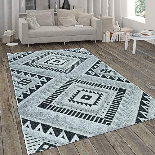 Alfombra Interior Exterior con Franjas Pelo Largo Y Estilo Étnico Blanco Negro, tamaño:160x230 cm