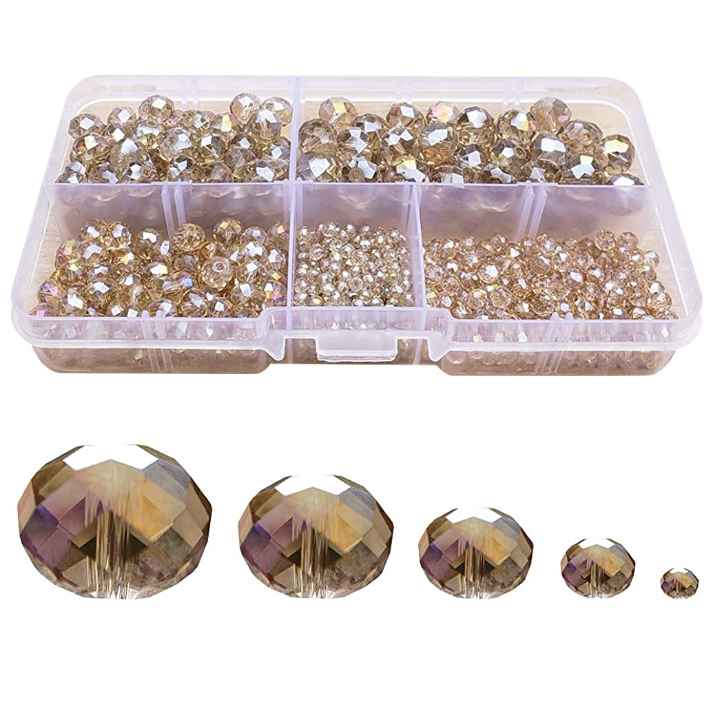 Chengmu 2-10mm Silver Champagne Rondelle Glass Beads for Jewelry Making AB Colour 710pcs Faceted Briolette Shape Crytal Spacer Beads Assortments Supplies for Bracelet Necklace with Elastic Cord Box