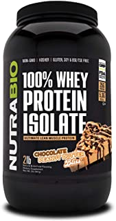 NutraBio 100% Whey Protein Isolate (Chocolate Peanut Butter Bliss, 2 Pounds)