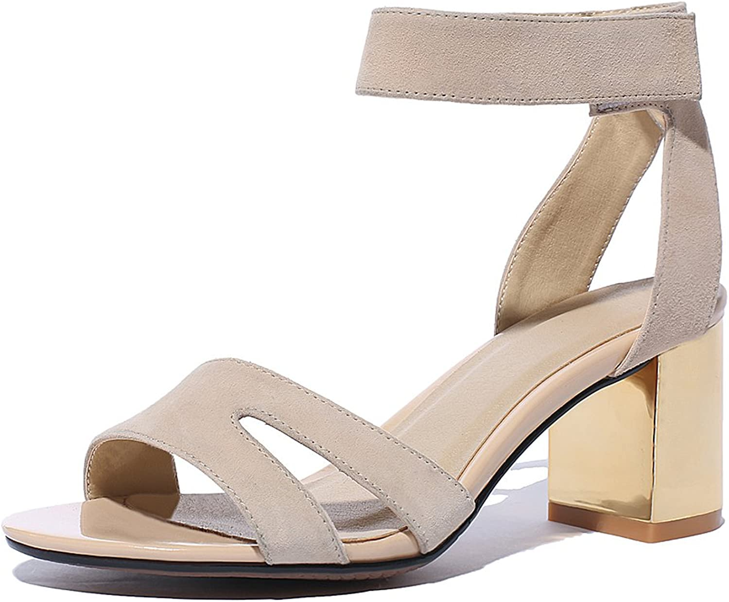 Cuckoo Women's Chunky Heel Ankle Strap Sandals
