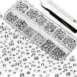 Cristales planos,Diamantes de Imitación, 2000 piezas de piedras preciosas con dorso plano, pedrería, en 6 tamaños, (1,5-6 mm), para manualidades, con pinzas y bolígrafo, para uñas, manicura