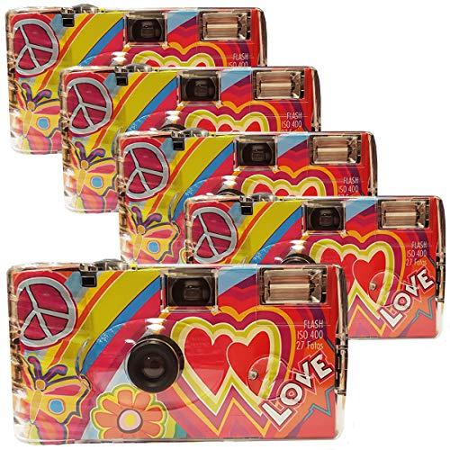 Photo, 5 telecamere per matrimonio Rainbow Kult – Love rosso/fotocamera usa e getta per feste (27 foto ciascuna, con flash, confezione da 5)