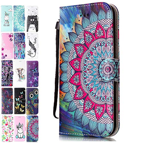 Ancase Lederhülle kompatibel für Samsung Galaxy S10 Plus / S10 + Hülle 3D Muster Mandala Blume Handyhülle Flip Hülle Cover Schutzhülle mit Kartenfach Ledertasche für Mädchen Damen