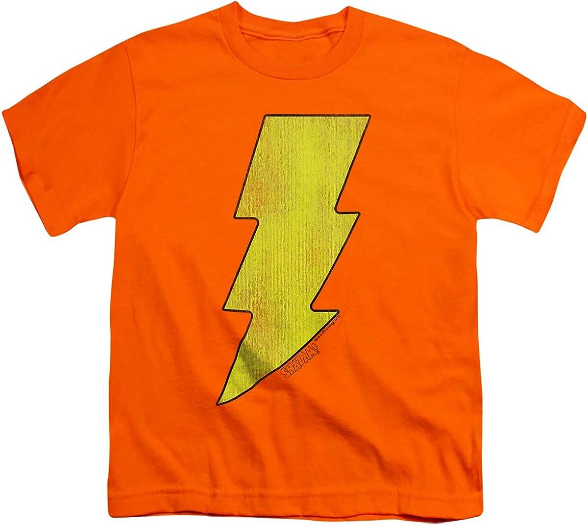 DC Shazam Logo Distressed Unisex Youth T Shirt, Orange, X-Large
