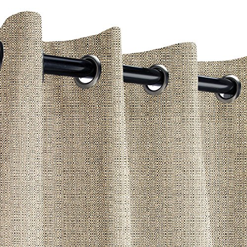 Sunbrella Linen Stone Outdoor Curtain with Nickel Grommets 50 in. Wide x 120 in. Long