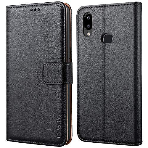 Peakally Coque pour Samsung Galaxy A10s, Housse Etui à Rabat Premium en Cuir PU [Pochette de Portefeuille] [Fermeture Magnétique] pour Samsung Galaxy A10s-Noir