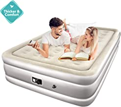 TOPELEK Queen Air Mattress, Airbed with Built-in Electric Pump, Flocked Fabrics/Pongee Fabrics & Extra Thick PVC, Storage Bag, Easy Setup for Indoors and Outdoors Use(5-Year Warranty)
