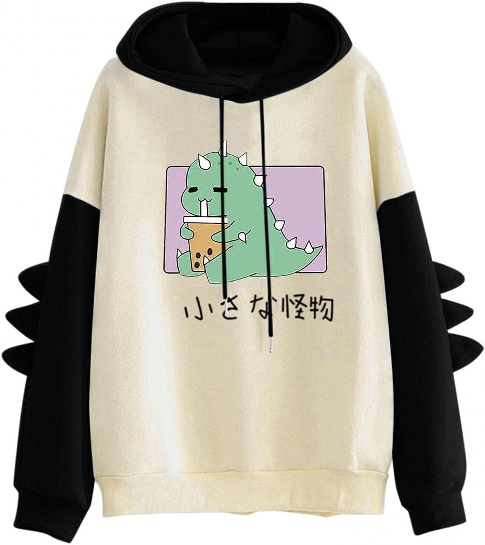 Price reduction GXLONG Women's Kawaii Dinosaur Colorado Springs Mall Sweatshirt Top Sleeve Splice Long