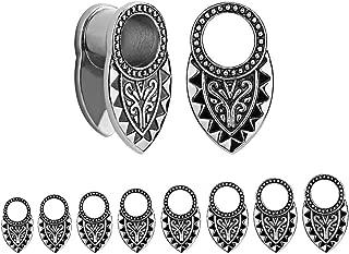 TBOSEN 2pcs Silver & Black Tribal Ear Tunnels Aztec Plugs Stainless Steel Gauges Earrings Piercings