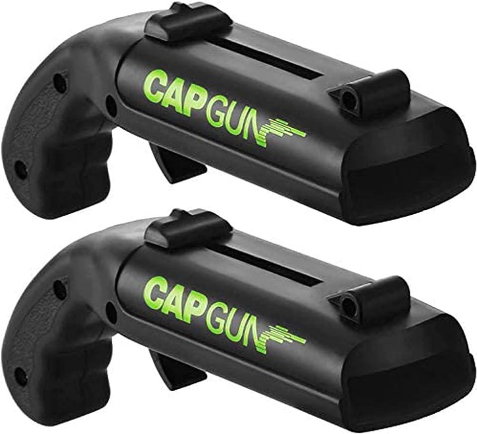 Capgun Flaschenöffner Pistole, Cap Gun Firing Cap Opener [Startstrecke 5-6m/ Größe: 13x5x4 cm] Bierdeckel Pistole - Cap Gun Flaschenöffner Original (Schwarz, 2)