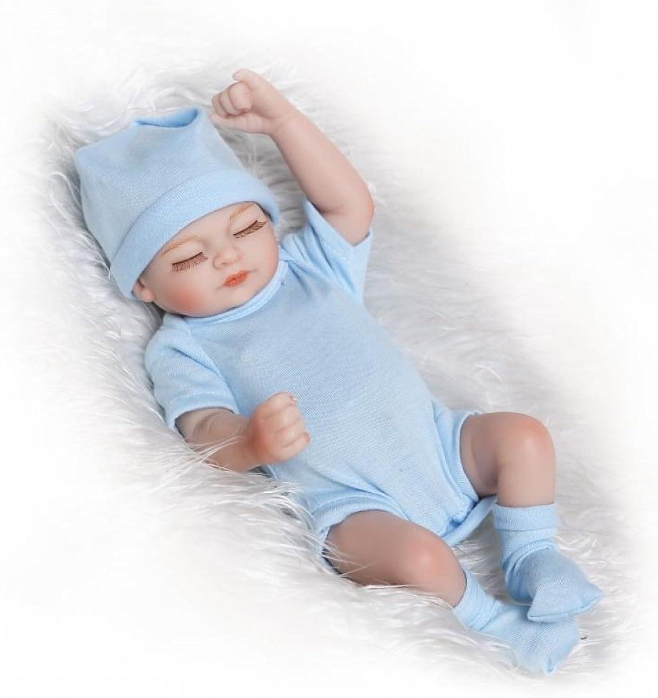 Reborn Baby Doll Silicone 10inch 26cm Waterproof Toy bluee Boy