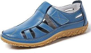 46a3d369 Z.SUO Sandalias Mujer de Cuero Planas Cómodos Casual Mocasines Loafers Moda  Zapatos Plano Verano