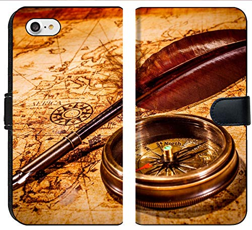 Liili Premium Phone Case Designed for iPhone 8 and iPhone 7 Flip Fabric Wallet Case Vintage Magnifying Glass and Compass Lying on an Old map Photo 19982059