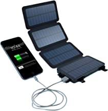 QuadraPro 5.5W Solar 4-Panel Portable Wireless Cell Phone Charger Compatible with iPhone, Android, 3 Output, 6,500mAh (ACTUAL) Dual USB Power Bank Battery & LED Flashlight, Magnetic Mounts, Frog & Co.