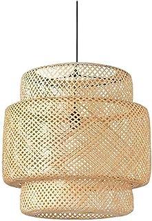 NZDY Retro Hanging Light, Modern Handmade Wicker Rattan Chandelier Tropical Bamboo Ceiling Lamp Chinese Style Zen Lantern ...