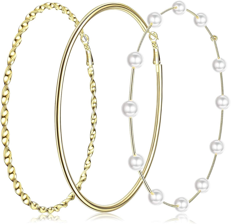 RnBLM JEWELRY 3 Pairs 14K Gold Plated Big Hoop Earrings for Women Large Pearl Hoop Earring Thin Twisted Huge Hoop Earrings in One Set Lightweight Gold Hoop